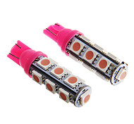 T10 2.5W 250LM 13×5050 SMD LED Pink Light for Car Dashboard / Door / Trunk Lamps (DC12V  2Pcs)