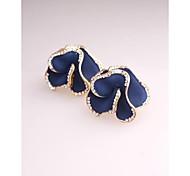 Korea Fashion Blue Flower Imitation Diamond Gold Plated Clip,Stud Earrings for Women in Jewelry