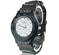 Coway Fashion Men's Round  Black Dial Black Silicone Band Quartz Analog Wrist Watch