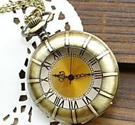 Women's Fashion Large Gold Dial Roman Numerals Quartz Movement Necklace Watch