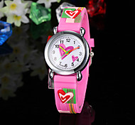 Children's Watch Heart Pattern Pink Silicone Strap