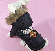 Собаки Плащи Черный Одежда для собак Зима Вышивка