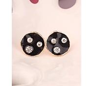Fashion Korea Big Black Imitation Diamond 18K Gold Plated Stud Earrings for Women in Jewelry