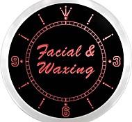 Facial & Waxing Beauty Salon Neon Sign LED Wall Clock