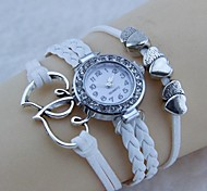 Vintage Heart - Shaped  Watch 22cm  Flannelette Wrap Bracelet (White)(1 Pc)