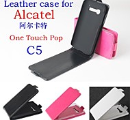 Fashion Leather Flip Case Cover for Alcatel One Touch Pop C5 Up and Down Smartphone 3-color