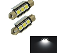 Carking™ 12V 2PCS 5050-3SMD-36MM Car Festoon Interior Light Rome Lamp White Light