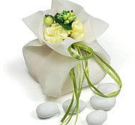 10 PCS Double Layer Chiffon Wedding Favor Bags Drawstring Pouch with Green Handmade Flower for Luxury Party