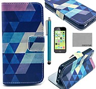 COCO FUN® Blue Puzzle Pattern PU Leather Full Body Case with Screen Protector for iPhone 5C