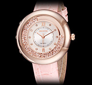 Women's Elegant Roll Beads Leather Band Quartz Wrist Watch (Assorted Colors)