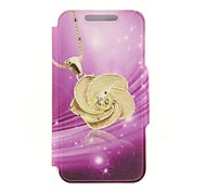 Kinston Purple Bottome Golden Flower Diamond Paste Pattern PU Leather Cover for iPhone 6