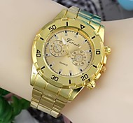 Fashionable Men's 45mm Round Dial Stainless Steel Watchband Wrist Watches Gold(1Pc) B Style