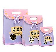 Coway 3Pcs Beautifully Packaged Purple Pumpkin Car Fastening Party Paper Gift Bag Set