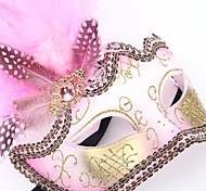 Pink Feather Princess PS Half Face Venetian Mask