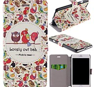 Lovely Owl Babies Pattern Clamshell PU Leather Full Body Case with Card Slot for iPhone 6