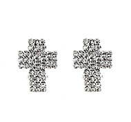 Cross Full Crystal-Setting Silver-Plated Earrings (1 Pair)