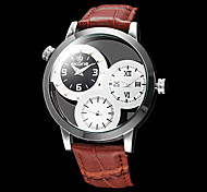 três zonas dos homens do tempo de relógio de couro Dial banda de pulso de quartzo oco (cores sortidas)