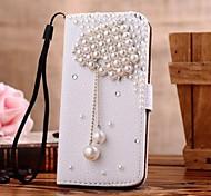 Diamant Perle Liebe Anhänger PU-Leder Ganzkörper-Case mit Ständer und Card Slot für iPhone 4 / 4S