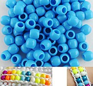Approx 100PCS 8x9MM Light Blue Pearlescent Pony Beads For Rainbow Loom Bracelet DIY Accessories