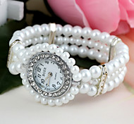 Women's  Round-Shaped Set Diamond Pearl Bracelet Watch (1Pc)