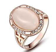 Noble Gift Classic Genuine Austrian Crystals Rose Gold Plating Pink Opal Stone Ring Party Jewelry
