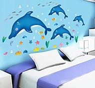 doudouwo® decalques da parede adesivos de parede, animais bonitos e encantadores peixes golfinhos e estrelas do mar pvc adesivos de parede