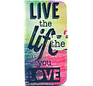 """Live The Life You Love"" Words Pattern PU Leather Full Body Case for iPhone 5/5S"