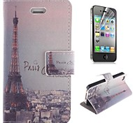 Eiffel Tower Pattern PU Leather Full Body Cover with Stand and Protective Film for iPhone 4/4S