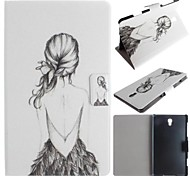 mooi meisje patroon pu leer full body case met kaart voor de Samsung Galaxy Tab 8.4 s t700
