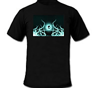 Sound and Music Activated Spectrum VU Meter EL Visualizer LED T-shirt (2*AAA)