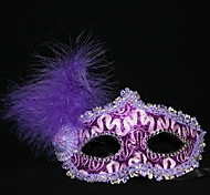 Halloween Leather and Feather Decorated Halloween Mask (3pcs/ Pack, Random Colour)