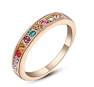 Small Colourful Stones Classic Wedding Ring 18K Rose Gold Plated Ring Made with Genuine Austrian Crystals
