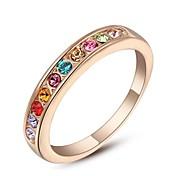pequenas pedras coloridas clássico 18k anel de casamento rosa banhado a ouro anel feito com genuínos cristais austríacos