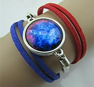Star Series Red White Blue 3 Colors Leather Bracelet