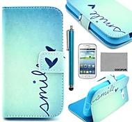 Coco Fun® patrón de corazón lindo estuche de cuero de la PU con el protector de pantalla y lápiz para Samsung Galaxy Lite tendencia 7390/7392