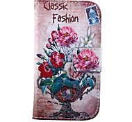 Beautiful Peony Flowers Pattern PU Leather Full Body Case with Stand for Samsung Galaxy Trend Duos S7562