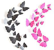 12 peças / set pvc diy 3d ímã simulação de decoração de casamento festa de borboleta central (mistura aleatória de tamanho)
