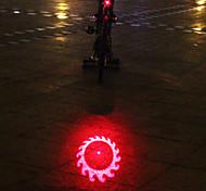 UNGROL 1 Red Flame Wheels Design Multifunctional 1 Laser Module+6 LED 6 Flash Mode Black Bike Warning Laser Light
