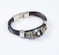 ornement en acier inoxydable de bracelets en cuir PU des hommes de cru