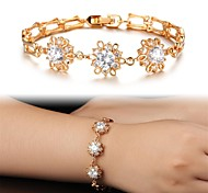 Beautiful Fashionable 18 K Gold Flowers Plating Mosaic AAA Zircon Ms Gold Bracelet