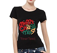 Personalized Rhinestone T-shirts Merry Chirstmas Pattern Women's Cotton Short Sleeves