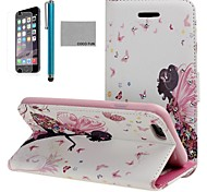 COCO FUN® Butterfly Girl Pattern PU Leather Full Body Case for iPhone 6 6G 4.7 with Screen Protecter, Stand and Stylus