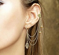 Shixin® Fashion Imitation Pearl Tassels Alloy Drop Earring Ear Cuff (Silver) (1 Pc)