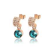 Classic 18K Rose Gold Plated Jewelry Use Shining Green Austria Crystal Waterdrop Earrings