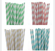 Hot Sale Light Color Striped Paper Straw(25 PCS)
