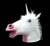 blanc masque de latex licorne pour costume de halloween