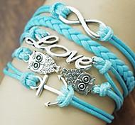 moda shixin® numero gufo ancoraggio 8 lega amore pu braccialetto 18 centimetri femminile avvolgicavo (blu) (1 pc)