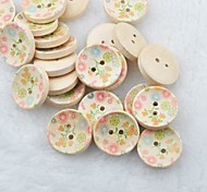 Flower Drawing Scrapbook Scraft Sewing DIY Wooden Buttons(10 PCS)
