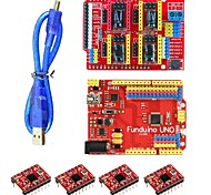 FUNDUINO 3DV3 CNC Shield V3 + UNO + Reprap Stepper Drivers Set for Arduino - Red