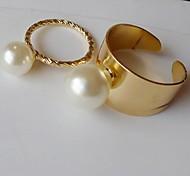 (2pc) übertrieben Perle Ring